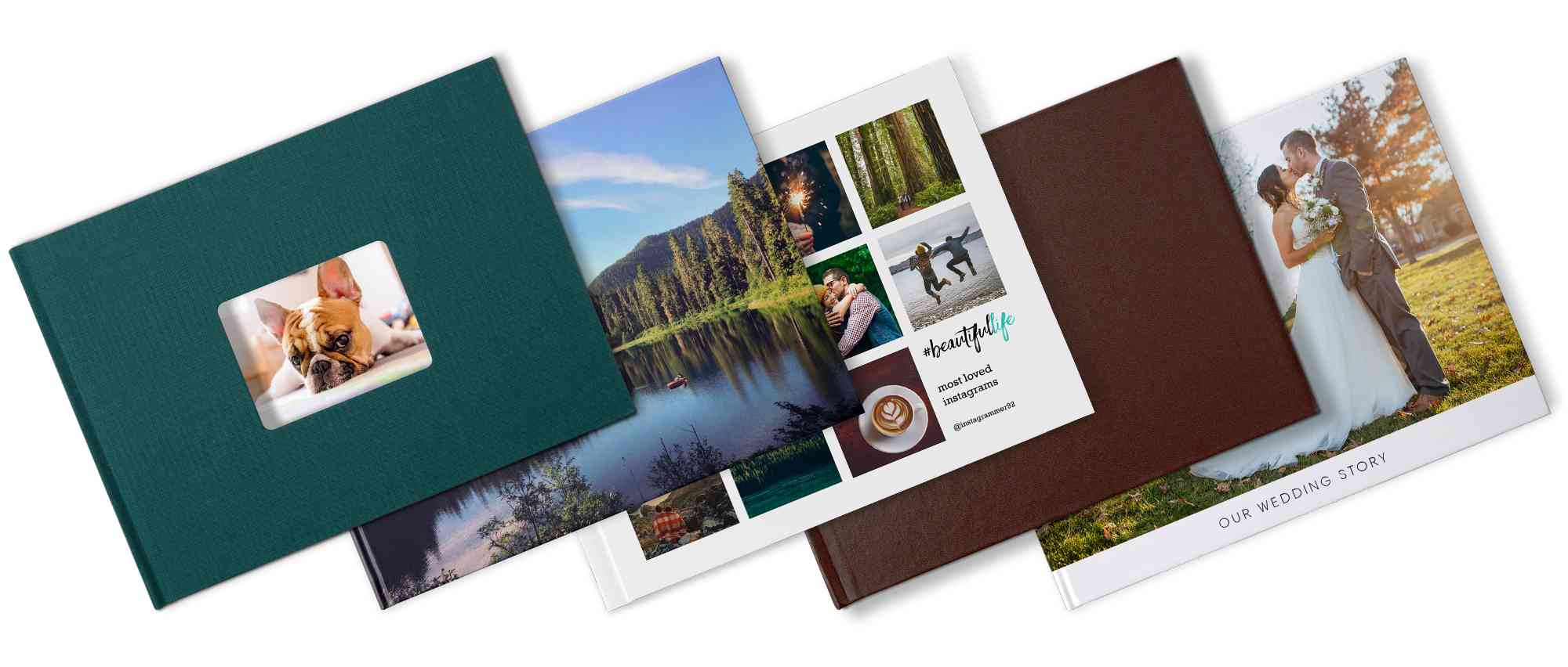 Different types of custom photo books available on Mixbook